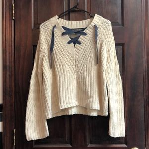 Cream colored knitted sweater